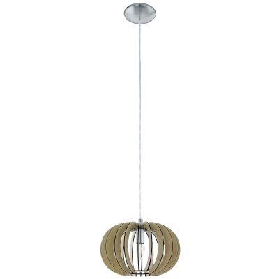 Die moderne Hängeleuchte ist in einem hellen Braunton gehalten. Sie erzeugt ein harmonisches Licht dank der Holzstruktur.