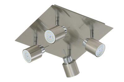 LED Deckenleuchte Matt Nickel 4xLED GU10 je 5W/230V Schwenkbar 26,5x26,5x11cm