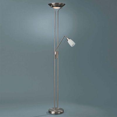 Energiespar Deckenfluter Stehlampe Glas Silber Höhe 179cm getrennt schaltbar