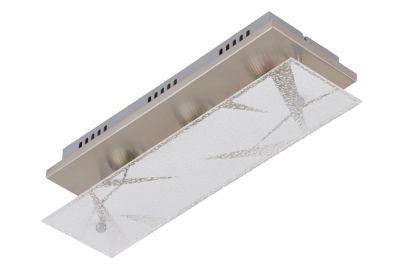 LED Deckenleuchte Nickel matt 3 Flammig Dekorglas GU10 austauschbar