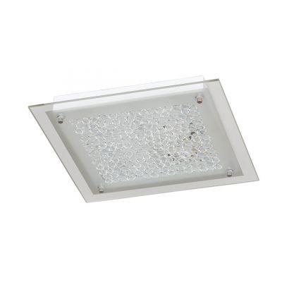 Wofi LED Deckenleuchte Eckig  25x25cm 1200lm Glasdekor 15W Weiß