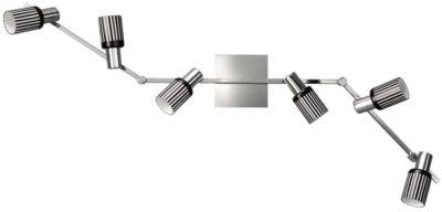 Energiespar Spotbalken 6 Flammig Spot Chrom Glas 116cm Schwenkbar 6x E14