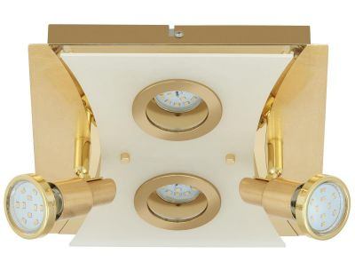 LED Deckenleuchte Gold 4 Flammig Drehbar Schwenkbar Eckig Warmweiß 33cm x 25cm