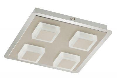 Briloner LED Wandleuchte Deckenleuchte 4 Flammig Silber Metall 1600lm 28 x 28x 5,2cm