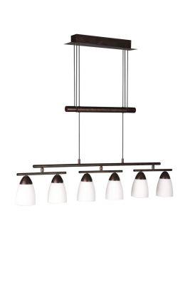 Energiespar Glaspendel Höhenverstellbar Braun 6 Flammig Drehbar Hängeleuchte
