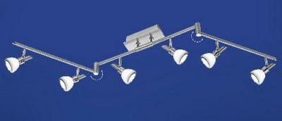 LED Deckenleuchte 6 Flammig Schwenkbar Nickel matt mit Chrom abgesetzt Opalglas