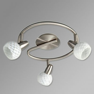 Deckenleuchte 3 Flammig Dekorglas LED einsetzbar Silber