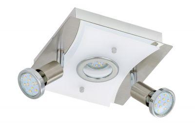 LED Deckenleuchte Nickel matt 3 Flammig Drehbar Schwenkbar Eckig Warmweiß 20cm x 20cm