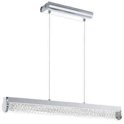 Pendelleuchte 1x LED 24W/230V Chrom Glas Drahtgeflecht 24W 1680lm 76,5x110cm