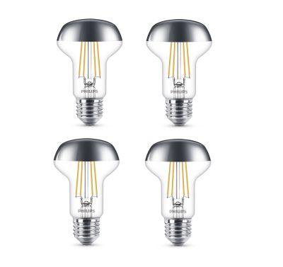 Philips LED Leuchtmittel 4 Stück E27 Reflektor R63 505lm Silberkopf Warmweiß 4W