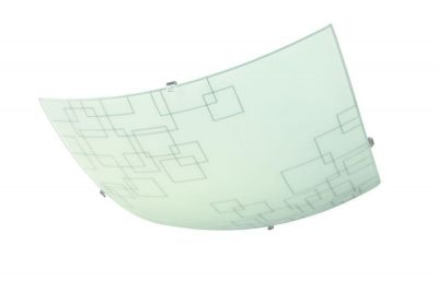Deckenleuchte Dekorglas Grau 1x E27 max. 60W Eckig 40cm x 40cm Tiefe 9,4cm