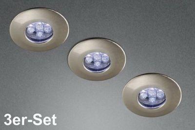 Kleine LED 3er Einbauset Einbauleuchte Set Stahl gebürstet Ø 4cm