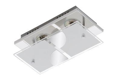 LED Deckenleuchte Chrom 2 Flg. GU10 Glas teilmattiert Metall 24 x 12 x 9cm Eckig