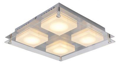 LED Deckenleuchte Silber Chrom 24 x 24cm 4 Flammig