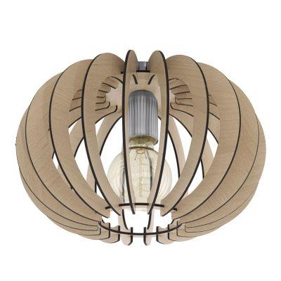 Deckenleuchte Holz Hellbraun Silber LED tauglich Ø 30cm Höhe 20cm