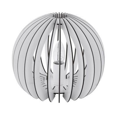 Tischleuchte Holz Weiss Schalter Tischlampe LED tauglich Ø 26cm