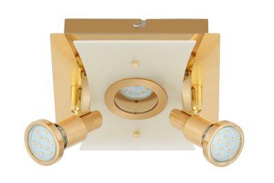 LED Deckenleuchte Gold 3 Flammig Drehbar Schwenkbar Eckig Warmweiß 20cm x 20cm