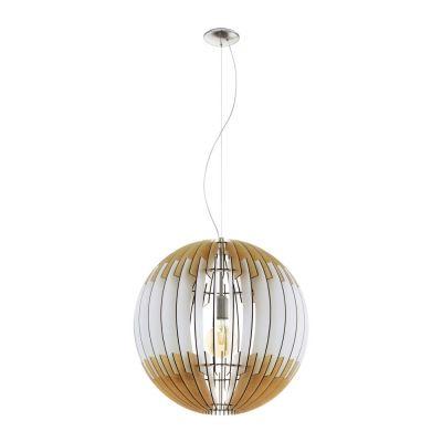 Große Pendelleuchte Helles Holz Weissgrau LED tauglich Ø 70cm Abhänghöhe 200cm