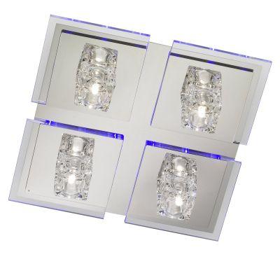 Wofi Deckenleuchte 4xG4 Halogen je 20W Lenox LED Blau 270lm 2700K 30x30x10cm