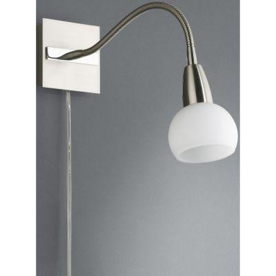 Schwanenhals-Wandleuchte Cosmos Spot 1x E14 für LED geeignet gebürsteter Stahl