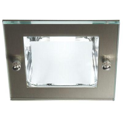 Energiespar Spot Deckenleuchte Silber Glas Metall Eckig Strahler Einbauleuchte