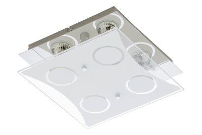 Deckenleuchte 4x LED GU10 je 3W/230V Chrom Glas Warmweiß 25x25x8,1cm Eckig