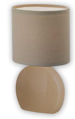 Honsel Tischleuchte Stoffschirm Cappuccino Oval Keramik Höhe 24cm