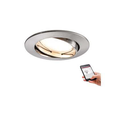 Smart Home Einbauleuchte 3er Set LED je 5,2W/230V IP23 Dimmbar Silber Ø8,3cm