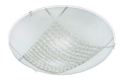LED Deckenleuchte Weiss Glas 1200lm Rund Durchmesser 30cm Kristalloptik
