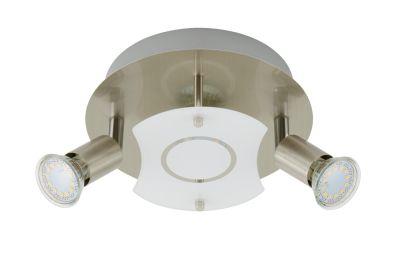 LED Deckenleuchte Nickel 3 Flammig GU10 Glas Metall Rund Schwenkbar Ø 20cm