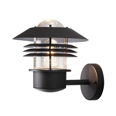 Wandaussenleuchte Schwarz LED tauglich 1x E27 max. 60W/230V Glas Aluminium