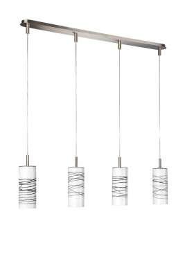 Glaspendel 4 flammig schwarz weiß Stahl gebürstet109 x 150cm