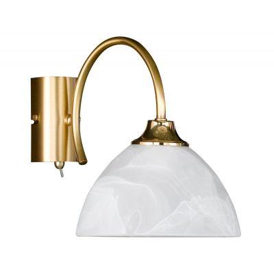 Wandleuchte Wandlampe Schalter Glas Messing