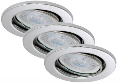 Runde LED Einbauleuchte 3er Set Chrom Schwenkbar Dimmbar GU10 tauschbar