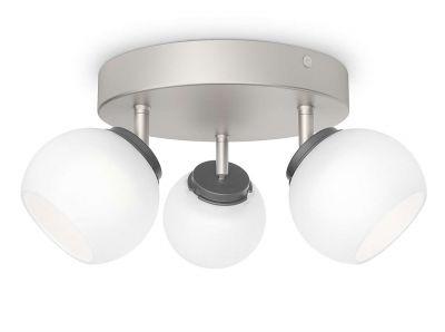 Philips LED 3 flammig Deckenleuchte Silber 990lm Schwenkbar Ø 23,5cm Glas
