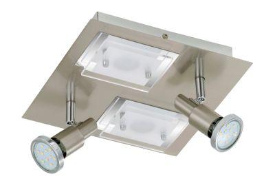 Briloner LED Deckenleuchte Nickel matt 4 Flg. Drehbar Schwenkbar 24x24cm Glas