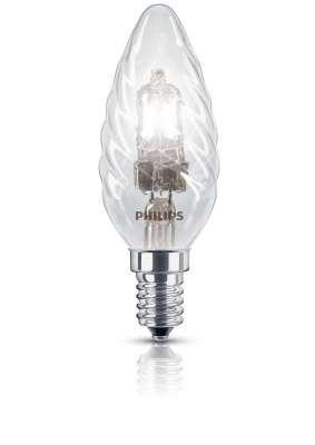 Philips Halogen Classic Kerzenlampe gedreht E14 Kerze 28W EcoHalo Leuchtmittel