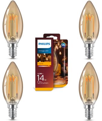 Philips LED Vintage Leuchtmittel 4 Stück E14 Kerze 125lm 2000K 2,3W Glühfaden