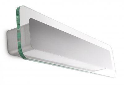 Energiespar Wandleuchte Glas 2x E14 12W warmweiss 735lm Alu gebürstet Rechteck