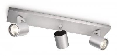 Halogen Deckenleuchte Spotleiste Strahler Leuchte Metall Silber GU10 3x 50W/230V
